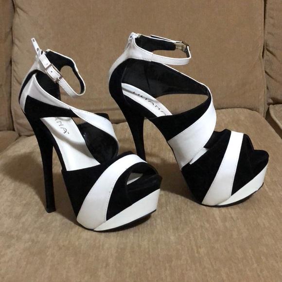 a2bc5866027 Liliana Shoes - Liliana black and white platform stilettos size 7